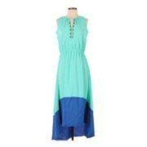 Kyle Richards Aqua Blue High-Low Maxi Dress L